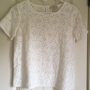 LOFT White Lace Blouse NWOT